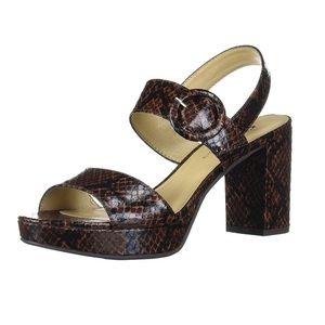 Genna Brown Snake Block Heel